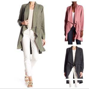 Drape Front Jacket in Pink, Khaki Green or Black!